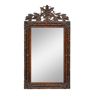 Black Forest German Rectangular Mirror with Foliage Motifs and Carved Berries