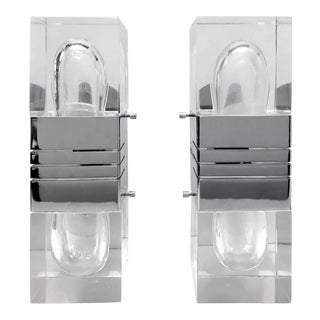 Pair of Lucite and Chrome Wall Sconces by Gaetano Sciolari For Sale