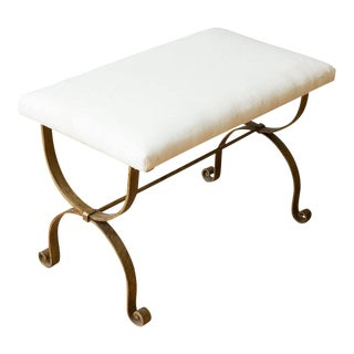1950s Spanish Gilt Iron Muslin Upholstered Bench For Sale