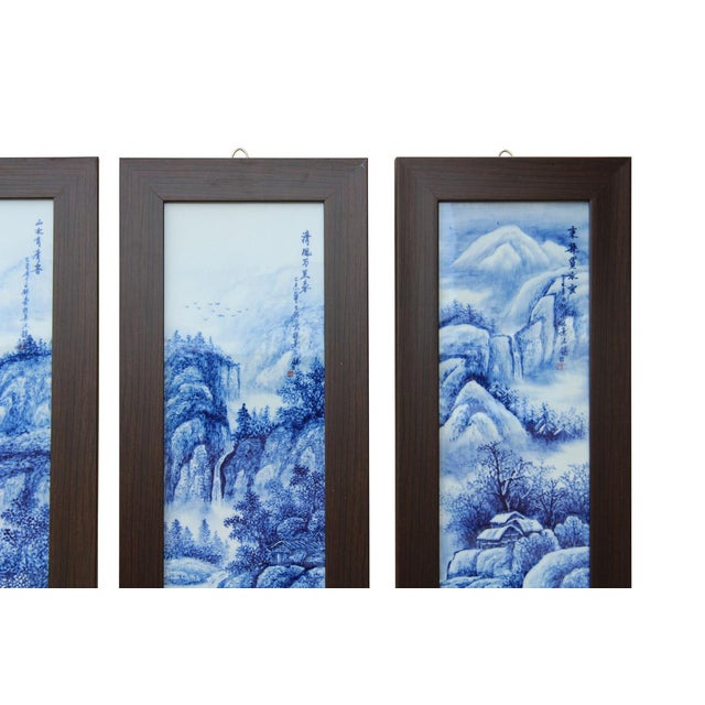 Chinese Blue & White Porcelain Wall Panels - Set of 4 - Image 4 of 6