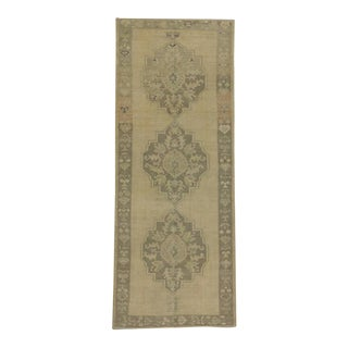 Vintage Turkish Oushak Carpet Runner with Modern Style in Muted Colors For Sale