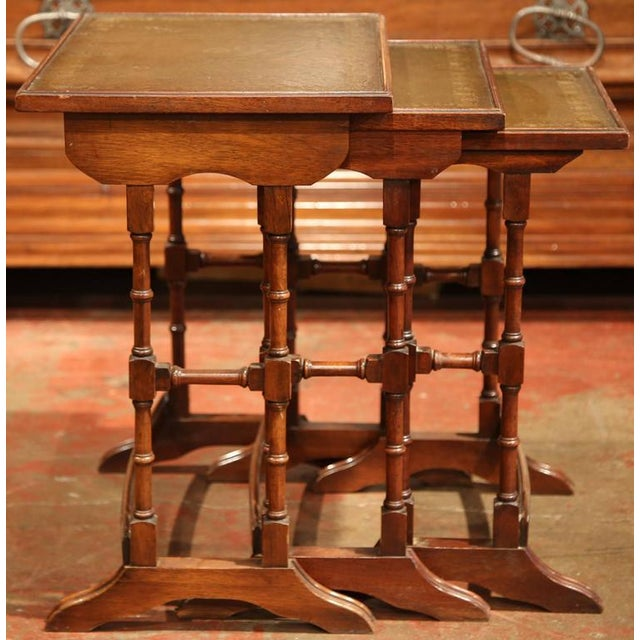 """Add extra surface space to a living room or study with this elegant set of vintage """"gigogne"""" tables from France, circa..."""