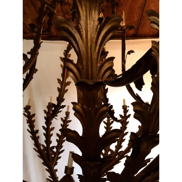Metal Bronzed Metal Nineteen-Light Florentine Chandelier For Sale - Image 7 of 12