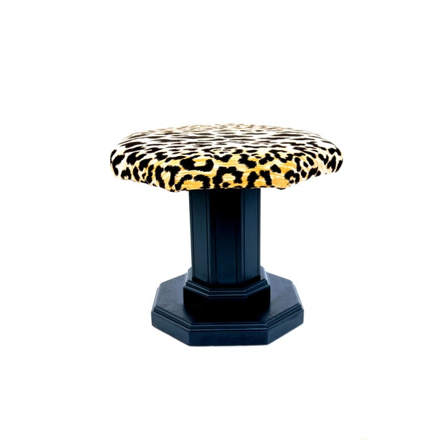 Mahogany Vintage Regency Leopard Velvet Low Stool For Sale - Image 7 of 11
