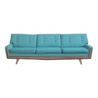 Vintage Mid Century Blue Gondola Sofa For Sale