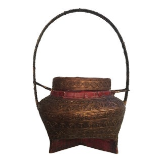Vintage Thai Lacquered Bamboo Offering Basket For Sale