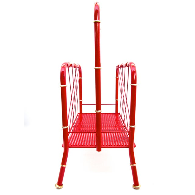 Asian Vintage Red & Gold Faux Bamboo Magazine Rack For Sale - Image 3 of 6