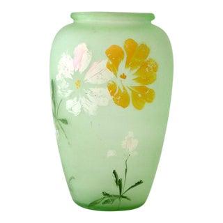 Depression Era Painted Uranium Glass Vase For Sale