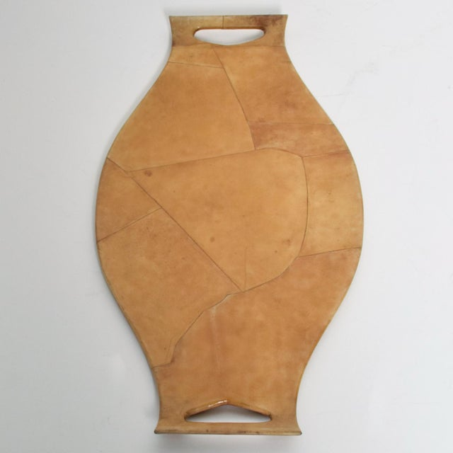 Mid-Century Modern Italian Sculptural Wood & Goatskin Service Tray For Sale In San Diego - Image 6 of 9