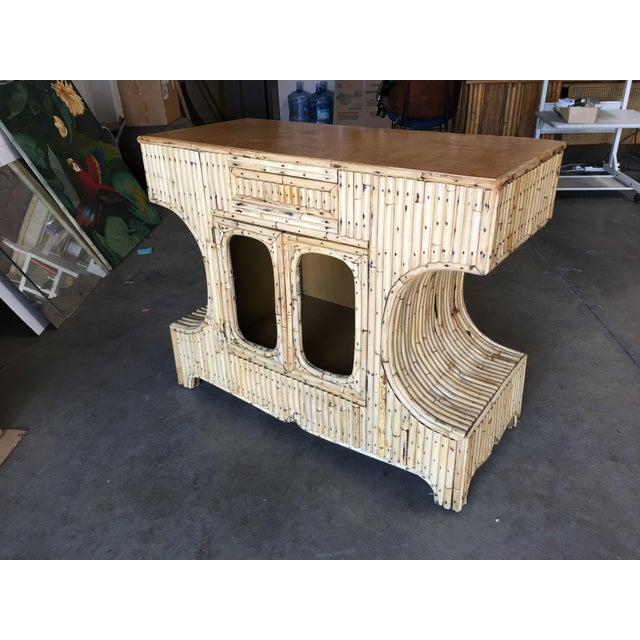 """Boho Chic Restored Stacked """"Anvil"""" Sofa Table Cabinet W/ Mahogany Top For Sale - Image 3 of 10"""