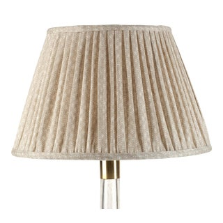 Fermoie Gathered Linen Lampshade in Ecru Figured, 18 Inch For Sale