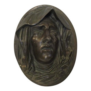 Antique Bronze Plaque of Mary For Sale