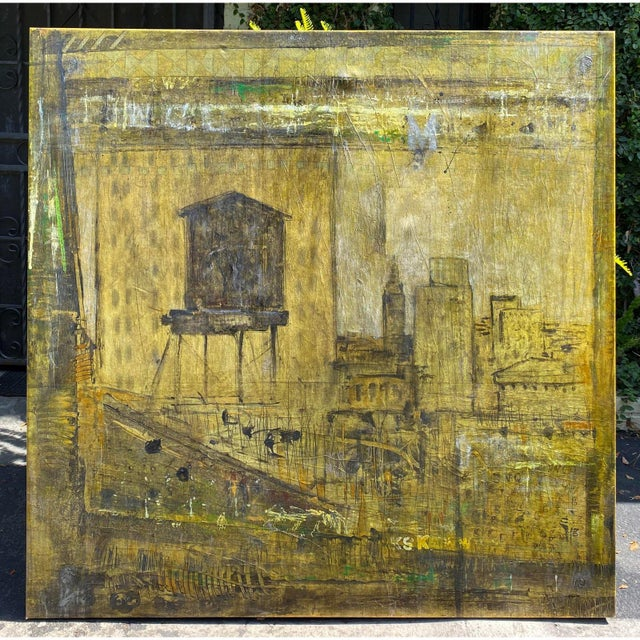 Mid Century Modern Abstract Art Cityscape Oil Painting by P. Kutter For Sale - Image 4 of 4
