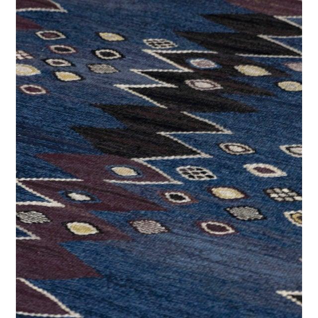Barbro Nilsson Mid-Century Handwoven Signed Swedish Wool Rug For Sale - Image 4 of 8