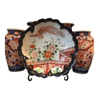 Antique Japanese Ceramic Porcelain Bird Hand Painted Imari Bowl For Sale