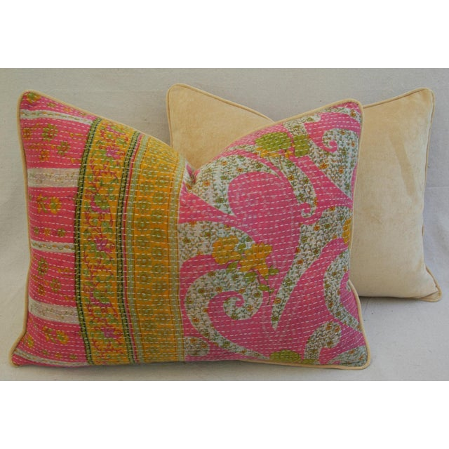 Vintage Kantha Textile Pillows - a Pair For Sale - Image 10 of 11