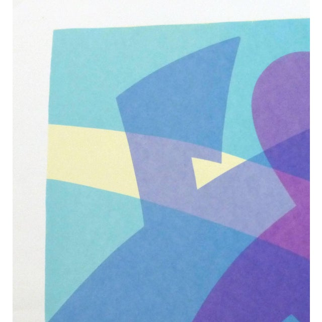 Playful abstract serigraph of a pastel hued couple in mid dance move, circa 1980. Original artwork on paper displayed on a...