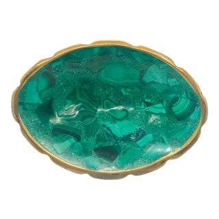 1970s Oval Malachite and Brass Bowl For Sale
