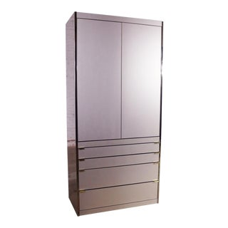 Ello Optima Brass and Rose Gray Glass Wardrobe Entertainment Storage Cabinet For Sale