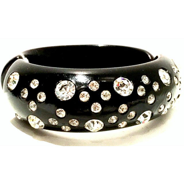 Mid 20th Century 1950's Vintage Weiss Black Thermoplastic & Swarovski Crystal Clamper Cuff Bracelet For Sale - Image 5 of 11
