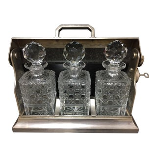 1900s English Silver Locking Tantalus & Decanters - Set of 4 For Sale