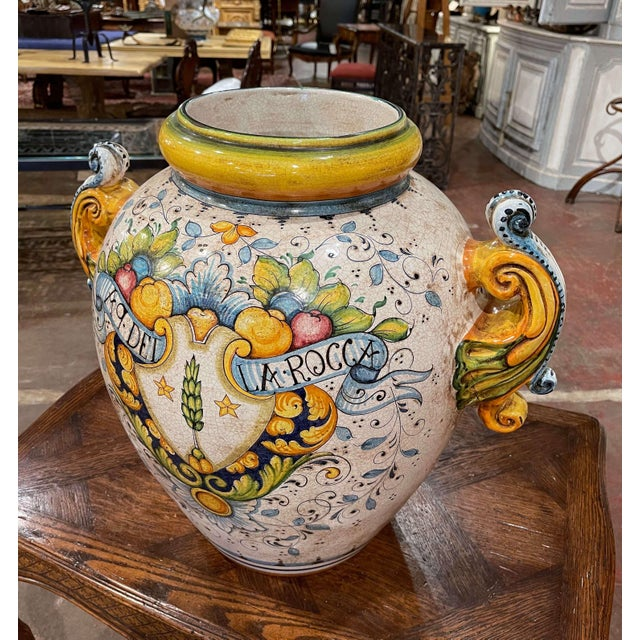 Mid 20th Century Mid-20th Century Italian Hand Painted Ceramic Cache Pot With Crest Motifs For Sale - Image 5 of 13