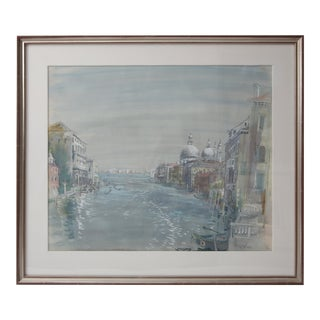 1920s Cecil Beaton Watercolor Painting of Grand Canal of Venice For Sale