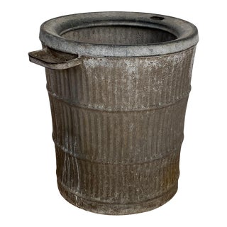 Large Antique Rustic Zinc Bucket For Sale