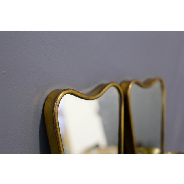 Pair of Italian MidCentury Applique With Mirror in Brass 1950s For Sale - Image 4 of 7