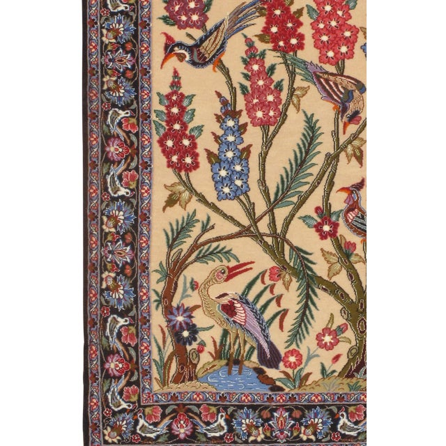 Original Persian Isfahan Handmade Hand-knotted in Isfahan Iran Silk highlighted with korker wool on a silk foundation