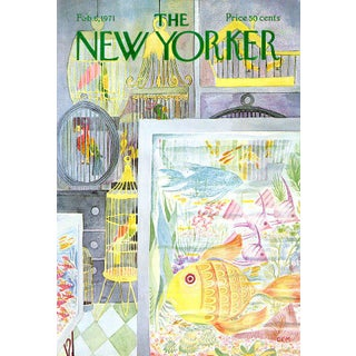 Vintage 1971 New Yorker Cover, February 6 (Charles Martin), Pet Shop For Sale