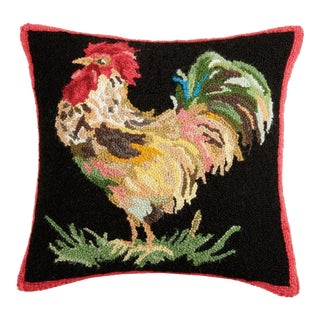 """Country Rooster Hook Pillow, 18"""" x 18"""" For Sale"""