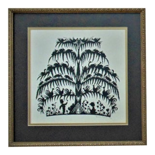 Vintage Folk Art Hand-Cut Silhouette Black & White Children Tree of Life Animals Hearts Signed & Dated For Sale