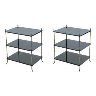 1950s French Maison Baguès Brass Black Lacquer Three-Tier Side Tables - a Pair For Sale