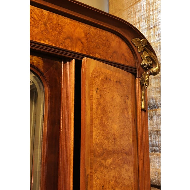 Gold Antique ART NOUVEAU 19th/20th C FRENCH Walnut Satin Inlay BRONZE Mounted MIRROR ARMOIRE For Sale - Image 8 of 10
