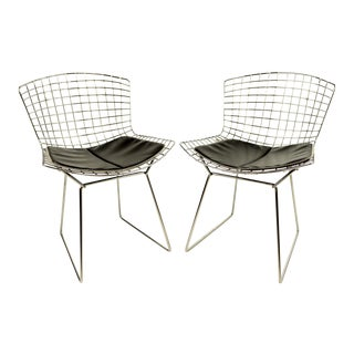 Bertoia Dining Chairs With Black Pads - A Pair