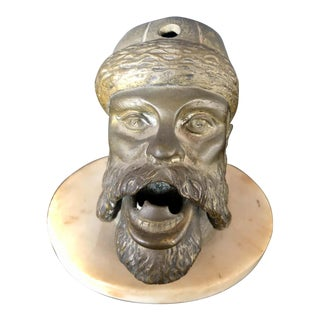 Bronze Sculpture Head Cigar Cutter on Marble Base, Tobacco Collectibles For Sale