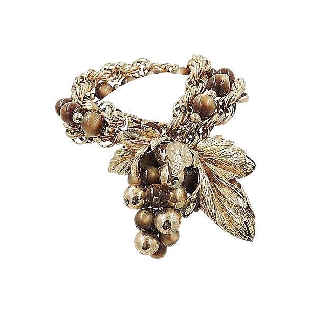 1950s Napier Brown Moonglow Grape Charm Bracelet For Sale
