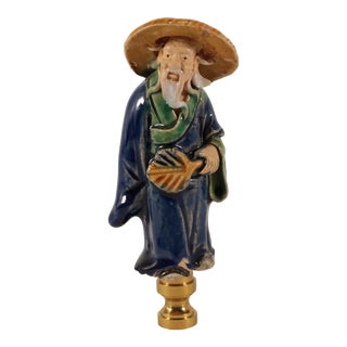 Chinese Figural Lamp Finial With Fan For Sale