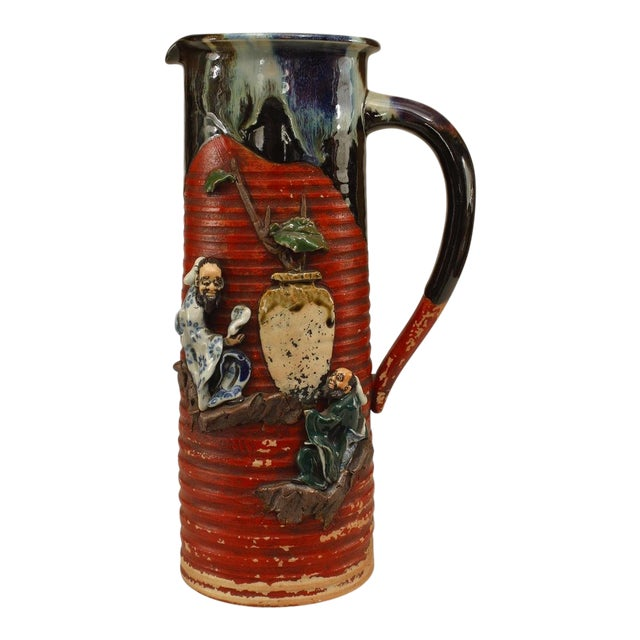 Asian Japanese Meiji Period Red and Black Glazed Terra Cotta Pitcher For Sale