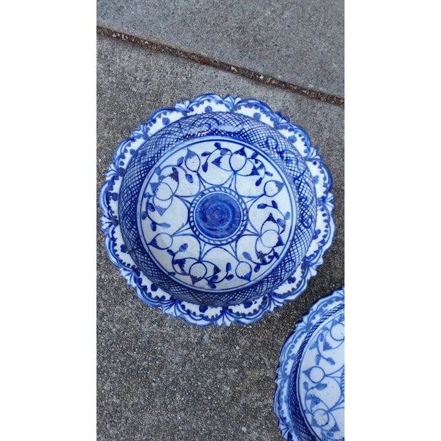Asian Antique Blue & White Terracotta Bowls- A Pair For Sale - Image 3 of 4