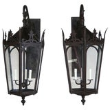 Image of Pair of French Wrought Iron Gothic Style Lantern Sconces For Sale