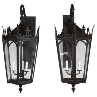 Pair of French Wrought Iron Gothic Style Lantern Sconces For Sale