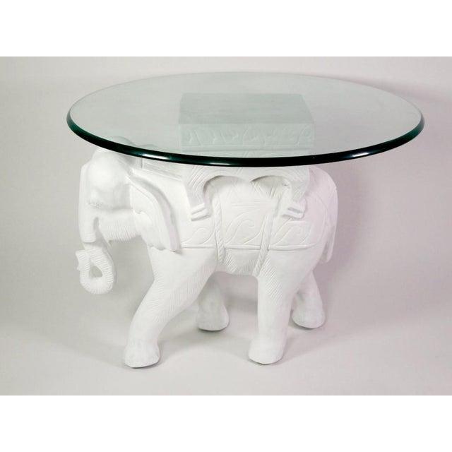 Gesso 1970s Hollywood Regency White Gesso Solid Teak Elephant Side Table For Sale - Image 7 of 9