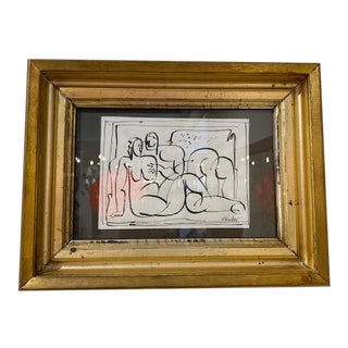Small Pen and Ink Matisse-Esque Subject, Mae Bender of Kingston Ny, in 19th Century Gilt Frame For Sale
