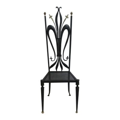 Vintage Hollywood Regency Bronze Accent Metal Tall Back Throne Desk Side Chair For Sale