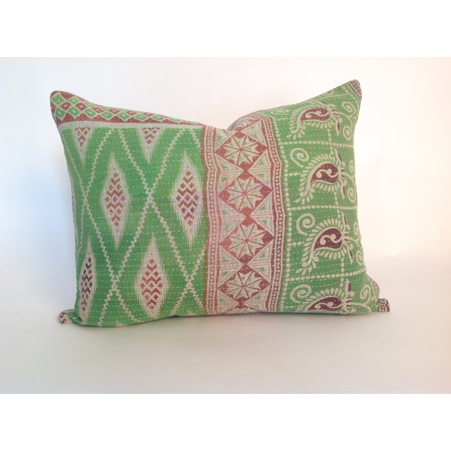 One Indian vintage block printed Kantha quilt pillow with natural linen back. Insert included.