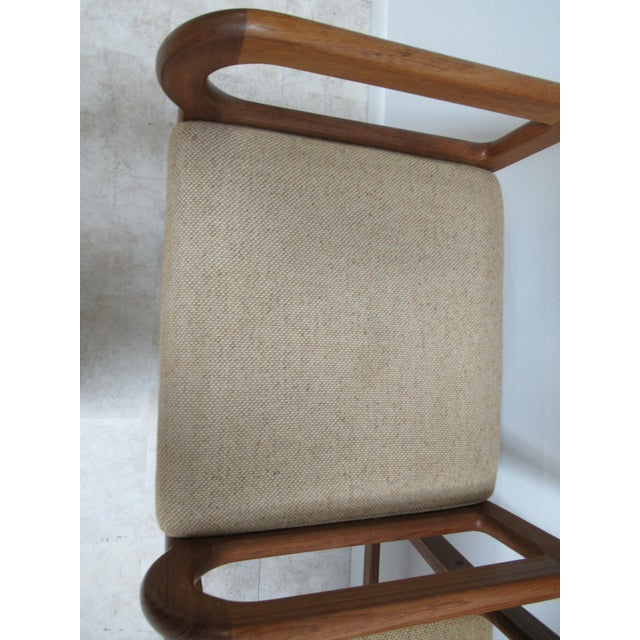 1960s Danish Modern Teak Ladder Back Bar Counter Arm Stools - a Pair For Sale - Image 5 of 12