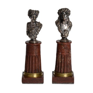 Pair of Silvered Bronze and Rouge Marble Busts For Sale