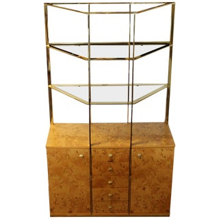 Mid-Century Modern Milo Baughman Burl Wood Credenza Brass Étagère Glass Shelves For Sale